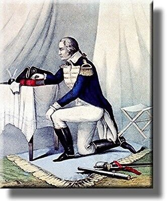 George Washington at Prayer Vintage Picture on Stretched Canvas, Wall Art Decor,