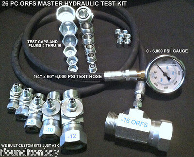 Hydraulic ORFS Pressure Test Kit 0-6,000 Forklift Excavator CAT Tester