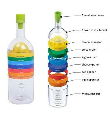 8 in1 Wine Bottle Shape Kitchen Food Tool Set - Grater Juicer Measure Cup Funnel