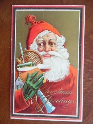 c.1912 Santa Claus with Toys Christmas Postcard Green Gloves Embossed Antique VG