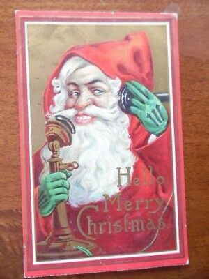 c.1912 Santa Claus Telephone Christmas Postcard Green Gloves Embossed Antique VG