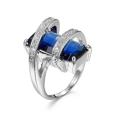 Women Engagement Blue Sapphire Wedding Ring 10KT White Gold Filled Size 6-10
