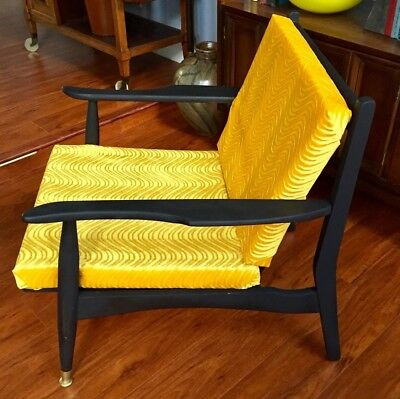 Mid Century Mat Black Wood Danish Lounge Chair Howard Miller Vintage Club Retro