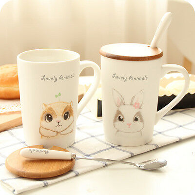 Cute Ceramic Cup Tea Milk Cup Coffee Mug Breakfast Cup with Lid and Spoon Gift