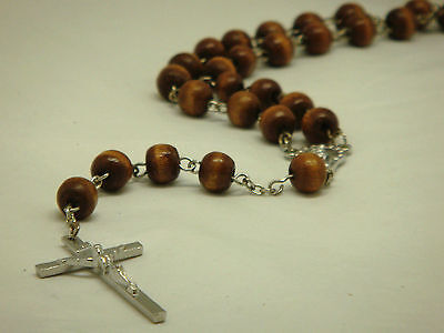Wooden Beads & Silver Chain Religious Rosary Necklace With Silver Metal Cross