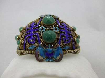 antique Chinese export silver gold filigree bangle / Armreif Silver punziert