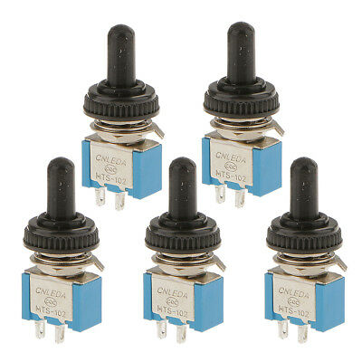 5Pcs 2 Terminals On/Off Mini Small Toggle Switch + Waterproof Cover 2P Blue
