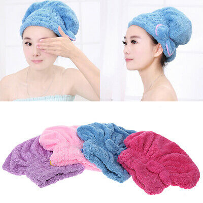 Microfibre Hair Drying Towel Wrap Turban Head Hat Bun Bath Shower Cap Quick Dry