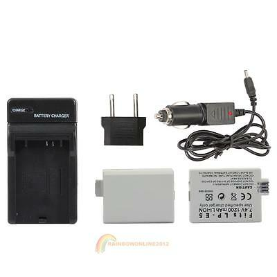 2X LP-E5 Battery+Car Charger+Adapter for Canon Rebel T1i XS XSi 450D 500D 1000D