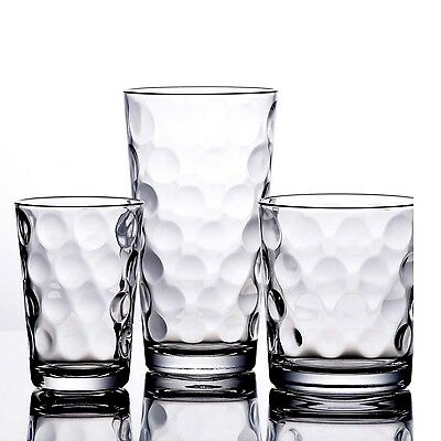 DRINKING GLASSES KITCHEN Glassware Mix Set Of 12 Clear Glass ...