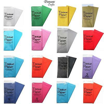 Tissue Paper 5 Sheets - Luxury Acid Free 50 x 70cm Sheets Wrapping - 14 Colours