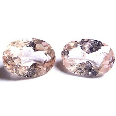 NATURAL LOVELY PEACHY PINK MORGANITE LOOSE GEMSTONES (2 pieces) OVAL SHAPE