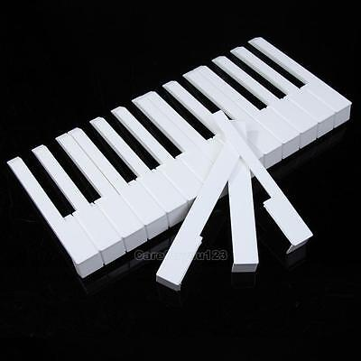 52 Pcs White ABS Plastic Piano Keytops Kit with Fronts Replacement Key Tops