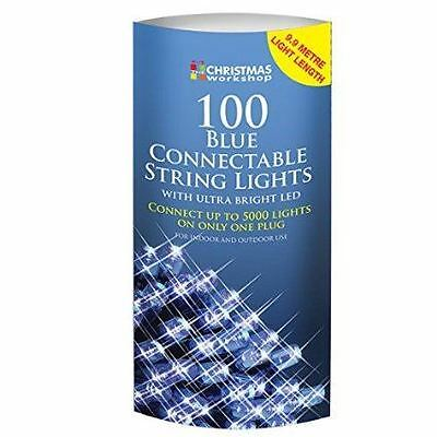 New The Christmas Workshop 100 LED Connectable String Lights Blue Festive Xmas