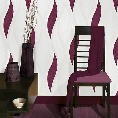 Wave Embossed Textured Wallpaper - Purple - E62006 Ugepa New