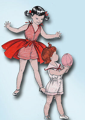1950s Vintage Butterick Sewing Pattern 7371 Toddler Girls Coveralls & Skirt Sz6
