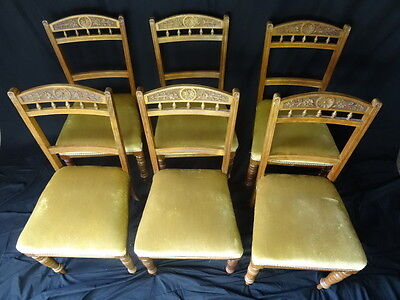 Rare Antique Victorian Harlequin Carved Light Red Walnut Set 6 Dining Chairs