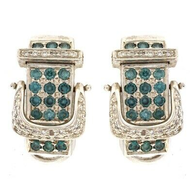 Omega Back Buckle Earrings with 2.52CTW of White & Blue Diamonds 14kt White Gold