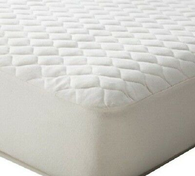 "1 New Quilted Fitted Mattress Pad Elastic Cover Bedding ""full Size"" Poly Fill"