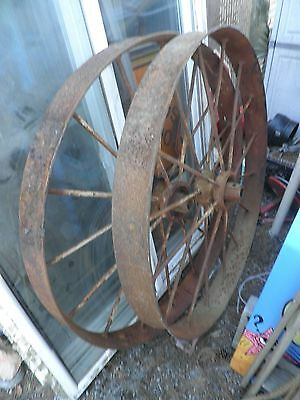 "1-Pair of 48"" Antique Farm Equipment Iron Wheels"