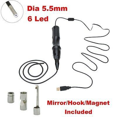 6LED USB Waterproof Endoscope Borescope Snake Inspection Camera Scope Dia 5.5mm