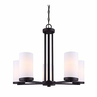 Canarm River 5 Light Chandelier with Flat Opal Glass - Oil Rubbed Bronze  Finish