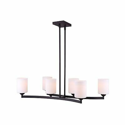 Canarm 6-Light Chandelier -  Oil Rubbed Bronze Finish with Flat Opal Glass