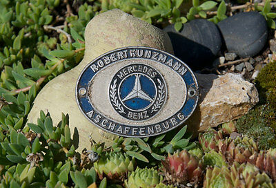 Vintage Automobile Car Dealer Badge # Mercedes Benz Robert Kunzman Aschaffenburg