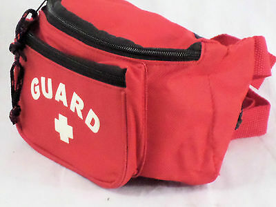 Lifeguard Red Fanny Pack with 3 Pockets and Adjustable Waist Strap