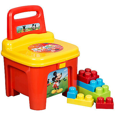 Mickey Mouse Lacasa Storage Seat With Building Blocks Kids Plastic Toy Chair New