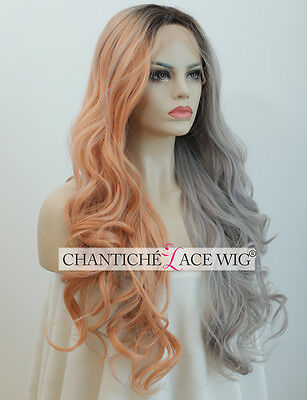 Ombre Synthetic Hair Lace Front Wigs Orange&Grey Long Natural Wavy Heat Safe UK