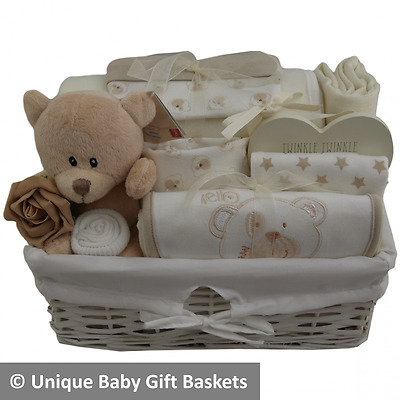 Deluxe baby gift basket/hamper neutral unisex baby shower maternity/baby gift
