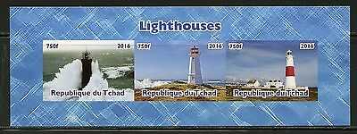 Chad 2016  Lighthouses Sheet Of Three Imperf Part Ii  Mint Nh