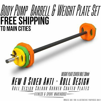 Barbell with Rubber Coated Plates Weightlifting Crossfit Arms Strength Training