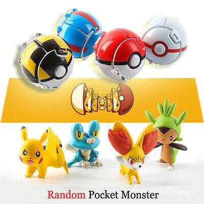 4Pcs Bounce Pokemon Pokeball Action Figures Pikachu Toys Children Kids NiceToy
