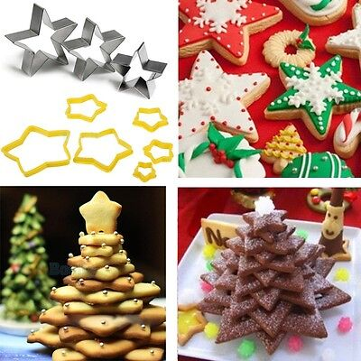 Christmas Star Cake Fondant Decorating Sugarcraft Cookie Pastry Cutter Mold Tool