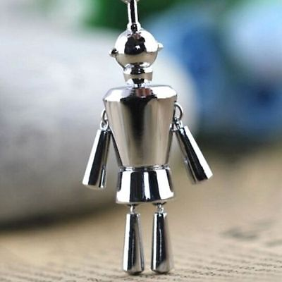 FD5119 Creative Movable Silver Robot Keychain Keyring Key Chain Ring Cute Gift