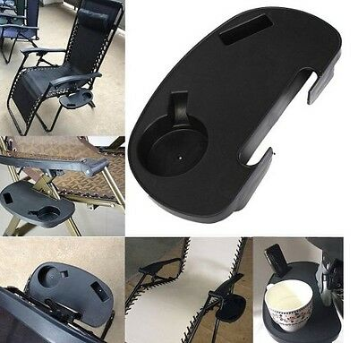 Portable Clip-On Folding Beach Chair Side Table Tray Drink Beverage Cup Holder