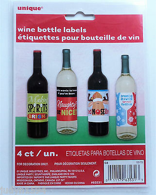 Pack Of 4 Christmas Wine Bottle Labels Party Table Decoration  Xmas Stickers