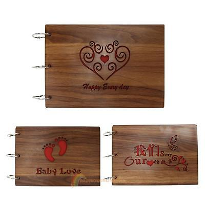 3 Style Wood Cover Albums Loose-leaf Pasted Baby Wedding Photo Case Scrapbook