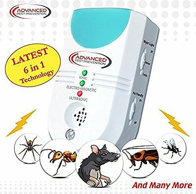 Ultrasonic Pest Repeller Electronic 6 in 1 EU Plug Deters Mice Spiders & More