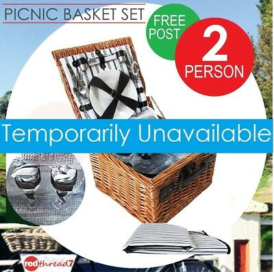 Picnic Basket Insulated Cooler Set Free Blanket 2 Person Wicker Camping Hamper