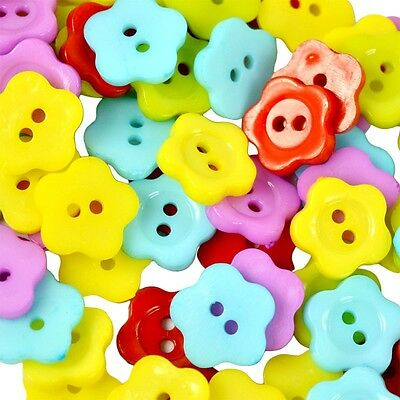 100Pcs 2 Holes Flower Shape Resin Buttons Sewing Scrapbooking 12mm Mixed Color