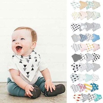 New 4Pcs Baby Kids Cotton Bandana Bibs Feeding Saliva Towel Dribble Triangle Set