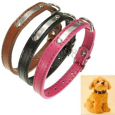 PU Leather Pet Collar Dog Cat Puppy Collars Adjustable Neck Buckle Strap Middle