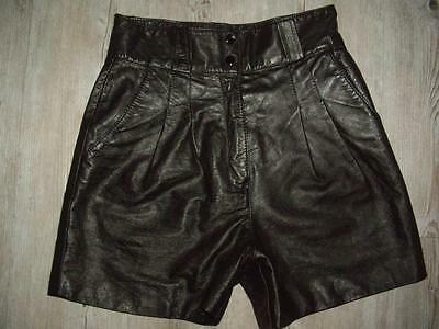 Vintage 1980s Black Leather Pleated Front Shorts High Waist Tag Size 9-10