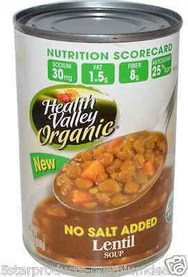 New Health Valley Organic Lentil No Salt Soup Antioxidant Daily Meal Food Care