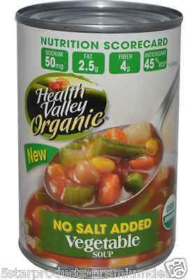 New Health Valley Organic Vegetable Soup No Salt Fiber Vitamins A & C Daily Care