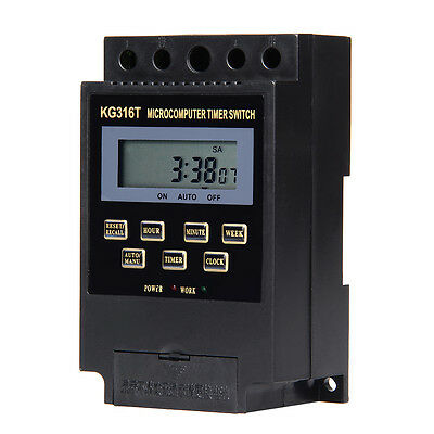 KG316T AC/220V Micro computer Timer Switch Programmable Controller ON/OFF Black