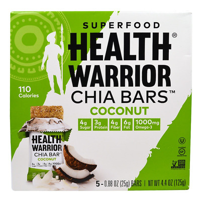 New Health Warrior Inc Chia Bars Coconut Nutritional Gluten Free Daily Snacks